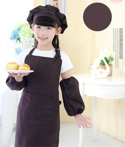 Kids Aprons Hat Sleeve Set Cooking Baking Waist Kitchen Apron Kid Painting Apron with Pocket Craft Printable LOGO A03