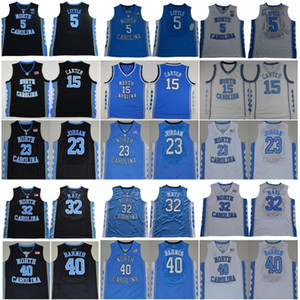 2019 Ncaa Carolina del Norte Tar Heels 23 Michael 5 Nassir Little 15 Carter 32 Luke Maye Barnes Vintage UNC Azul Negro Blanco Hombres Camisetas de colegio