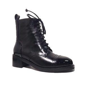 Martin negro botines botines MOTOCYCLE puntera impulso de combate ásperos de encaje del talón 100% cuero genuino zapatos de invierno de tamaño grueso us5-10