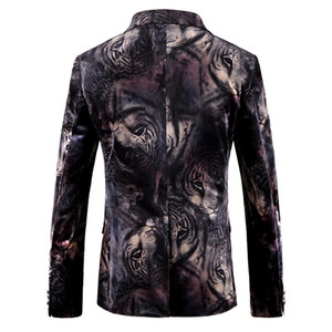 Hommes Blazer Designs animaux Tiger Imprimer Blazer Veste Slim Fit Mens Velvet Floral Blazers Casual Male Prom Stage Porter Bar Robe