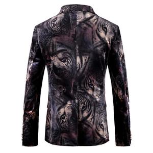 Hombres Blazer diseños del tigre del estampado de animales chaqueta de la chaqueta de terciopelo para hombre Slim Fit florales Casual Male Blazers Prom Etapa desgaste de la barra de vestir