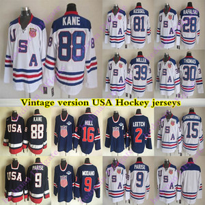USA Teams Vintage-Version Jersey KANE 9 PARISE 16 HULL 81 KESSEL 9 Modano 2 Leetch 30 THOMAS 39 MILLER CCM Hockey-Trikots