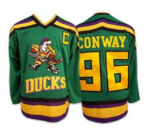 #96 Charlie Conway Mighty Ducks Movie Jersey Mens Green Stitched Sewn #33 Greg Goldberg #44 Fulton Reed College Hockey Jerseys S-3XL
