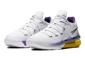 Início LeBron 17 Low Lakers sapatos para venda com caixa de melhores homens mulheres Tênis de basquete armazenar US7-US12