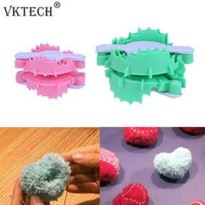 Kalp Shape Pompon Seti Plastik Pom Maker Fluff Topu Weaver İğne Craft Tezgah Örme Aracı DIY Örme biriktirme Dikiş Araçları