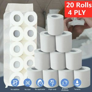 In Stock Fast Shipping 20 Rolls 4 Layers Home Toilet Roll Paper Bath Toilet Roll Paper Primary Wood Pulp Toilet Paper Tissue Roll