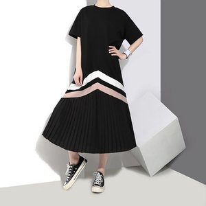 2020 Spring and Summer New Chic Womens Fashion T-shirt Skirt Short Sleeve Pleated Dress 3412