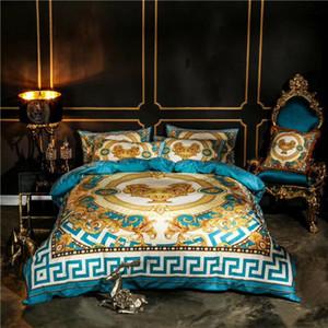Luxe royale marque d'impression design français italie bleu Marque Toison velours 5 pièces Literie Housse de couette / feuille / taie