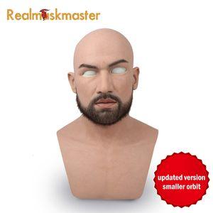 Realmaskmaster männlich Latex realistisch erwachsenes Silikon Vollgesichtsmaske für Mann Cosplay Partei Maske Fetisch echter Haut SH190922