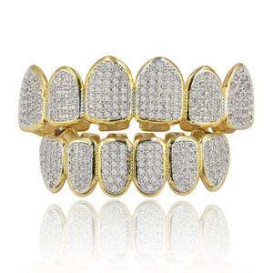Clásicos 6/6 dientes de Hip Hop Grillz Conjunto Oro Plata Dientes Grillz Superior Inferior Parrillas boca dental Caps del partido de Cosplay