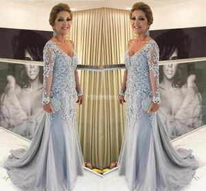 Herrliche 2019 Spitze-Nixe-Mutter der Braut-Kleider mit tiefem V-Ausschnitt Illusion lange Ärmel Sweep Zug Elegante Abendkleider Appliques Vestidos