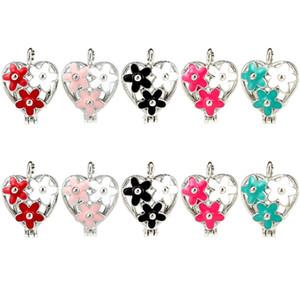 10X Renkli Emaye Noel Stilleri Çiçek Kalp Uçucu Yağ Difüzörü Oyster Inci Kafes için Madalyon Kolye DIY Takı Yapımı