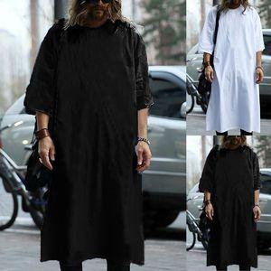 Incerun Kurta Mens Dress T Shirt manica corta allentato caftano lungo Tee Jubba arabo musulmano Thobe Uomini islamica Abbigliamento Hombre Camisas J190612