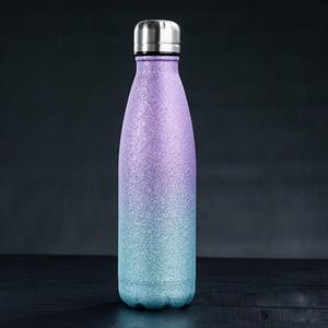 زجاجات 17oz بريق المياه الفولاذ المقاوم للصدأ فراغ زجاجة معزول المياه مزدوجة الجدار كولا الشكل السفر في الهواء الطلق الرياضة القدح