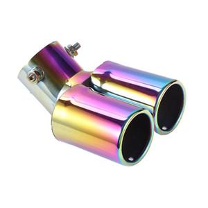 Colorido Outlets dupla em aço inoxidável tubo de escape do silencioso cauda Cachimbo Dica Tampa Modificado cauda do carro Rear garganta Liner