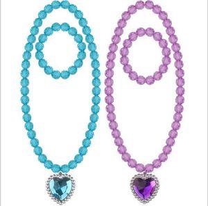 4 цвета дети ожерелье наборы аксессуар мульти бусины любви сердце кулон ожерелье и подвески браслет дети девушка акрил подарок ювелирных изделий