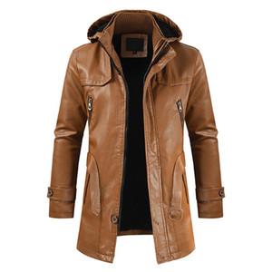 남성 가죽 자켓 2020 남성 패션 후드는 PU 가죽 재킷 캐주얼 오토바이 윈드 코트 겉옷 남성을 따뜻하게