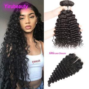 Paquetes de cabello virgen indio con cierre de encaje 6x6 Onda profunda de onda de profundidad 3 paquetes con cierre de encaje 6x6 4 piezas / lote