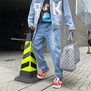 Carta de la roca Vamos Hip Hop Blue Jeans Pantalones Hombre Denim Vintage bolsillos Casual Pantalones Retro Hombre recto flojo Streetwear