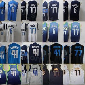 Luka los hombres de baloncesto baratos Doncic Jersey 77 Kristaps Porziņģis 6 Dirk Nowitzki 41 Edición Ganado Ciudad Armada cosido Azul Negro Blanco