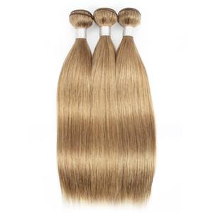 KISSHAIR 3/4 번들 색상 # 8 회 금발 브라질 인간의 머리 부드러운 직선 매체 갈색 머리 직조를 씨실