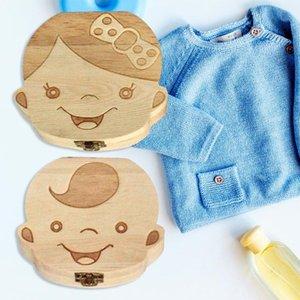 Ahşap Bebek Diş Kutusu Kaydet Organizatör Çocuk Çocuk Sütü Diş Depolama Keepsake Kutuları Bebek eşyalar Hediyeler