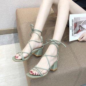 Las mujeres sandalias del verano elegante de las señoras del dedo del pie cuadrado de tacón cuadrado zapatos sandalias de Roma de la correa de la hembra ocasional suave playa zapatos # D9