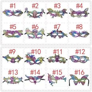 Echootime Moda 16 Designs Máscara do arco-íris Lace Halloween Meia Face Party Decoration Masquerade Máscaras Craft o favor de partido Decor Evento de Natal