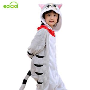 Eoicioi Novo Com Capuz Crianças Pijama Flanela Inverno Gato Dos Desenhos Animados Crianças Meninos Meninas Pijama Bebê Cosplay Pijama Pijamas Onesies J190520