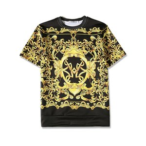 Fashion-PLstar Cosmos Medusa summer Harajuku Short sleeve T-shirts Medusa gold chain 3d print fashion brand cotton t shirt Set