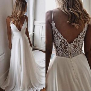 Sencillo cuello en V Gasa Una línea Boho Vestidos de novia de playa 2020 con cuentas Apliques Vestidos de novia formal Vestido de novia a medida barato Vestidos De Novia