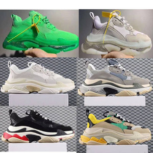2019 Париж трехместный с ясным дном дизайнер обуви низкой топ кроссовки трехместный с мужчинами и женщинами папа платформа Спорт обувь кроссовки 36-45