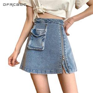 Vintage Blue Zipper A-Line Mini Skirt With Pockets 2020 Summer High Waist Women Denim Skirts Streetwear Short Jupe Jean Femme