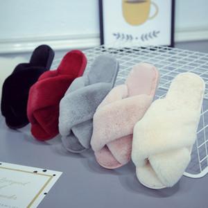 여성 소프트 봉제 양털 슬리퍼 크로스 밴드 따뜻한 집 야외 슬리퍼 크리스마스 크리스마스 홈 신발 5 개 색상을 공급 HH9-2518