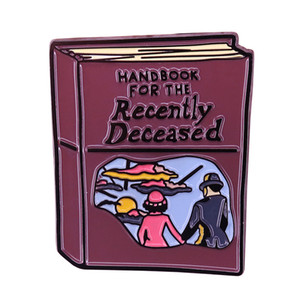 Handbook for the recently deceased enamel pin movie-inspired spooky finds Gothic jewelry