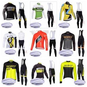 pantaloni del team SCOTT ciclismo invernali in pile termico pantaloni in jersey bretelle set caldo pile Jersey pettorina set Gli uomini della bicicletta Sportswear impostati S122718