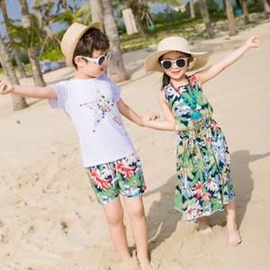 Детская одежда Пляж Семья Matching Outfit Cotton Мать / Мама и дочь платье Одежда Отец Сын Одежда Комплекты семейного типа Set 3XL