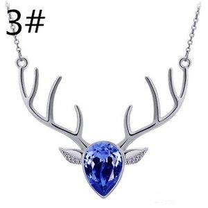 Nuevo regalo de Navidad de estilo Collar Regalo de Halloween para dama Crystal Deer Head Pendan