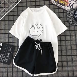 MILINSUS New 2019 été Plus la taille des femmes ensembles imprimer des T-shirts + de short noir ensemble 2 pièces Femme survêtements Casual costume Cartoon