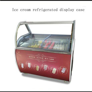 Commercial 220v ice cream display cabinet glass food Freezer manual popsicle showcase ice cream display cabi