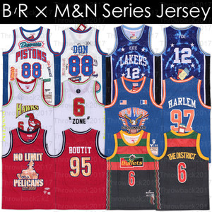 BR MN Klipler Jersey Wale Bullet The District Diplomatlar Harlem KHALED BÜYÜK SEAN Don Bölge Mutombo Basketbol Formalar