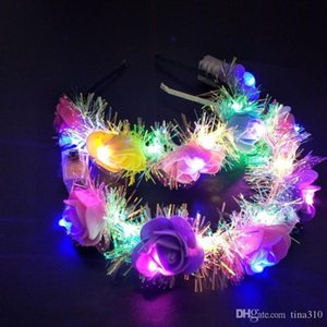 hot girl decorative flowers LED Light Floral Headbands Glowing Hair Band for Party Wedding favor Hair Accessories party favor T2C5052