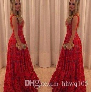 Crazy2019 Femmes Rouge Long Maxi Robe En Dentelle O-Cou Sans Manches Dos Nu Parti Soirée De Robe De Dressy Été Longues Robes Décontractées LJ005