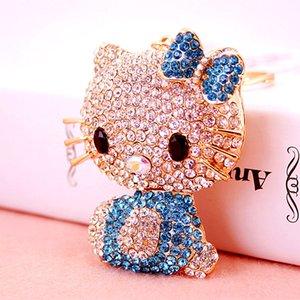 Cute Cat Cartoon Llaveros Crystal Rhinestone Lovely Kitten Llaveros Cat Car Llaveros Anillos Holder Bag Pendant