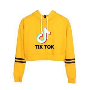 TIK TOK Crop Top Hoodie Women Girls Cropped Sweatshirts Long Sleeve Hooded Harajuku Pullover Streetwear Teens Tops Sudadera Mujer