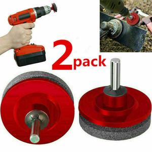 2pcs Lawn Mower Universal Plus rapide Lame Sharpener Grinding Perceuse Garden Kit (Rouge)