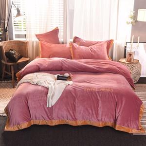 Elegante solido di colore di cristallo Fleece letto di morbida e liscia a freddo a prova di Warm Anti-Pilling accogliente camera da letto Copripiumino Set 4 pezzi