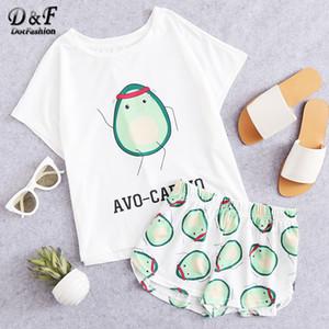 Dotfashion Cartoon Avocado Druck T und Shorts Set Frauen-Pyjamas 2019 kurze Hülsen-beiläufiges Pyjama Set Weibliche Stretch Nachtwäsche Y200107