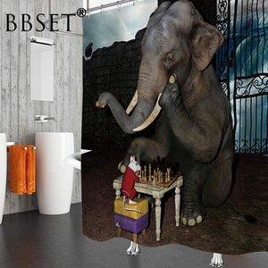 Doccia Funny Animal Curtain Elefante e mouse giocare a scacchi modello impermeabile Multi-size Cortina De Bano Bagno Decor