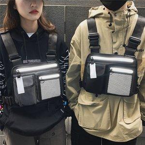 Reflektierende Streifen Streetwear Mode Brust Rig Bag Frauen Taille Tasche Männer Hip Hop Funktionale Taktische Brust Taschen Weste Geldbörse Neu